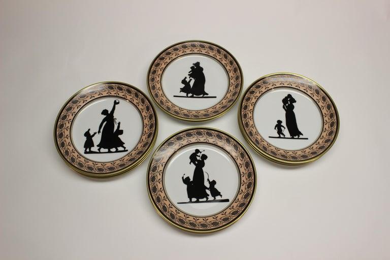Portuguese Set of Ten Mottahedeh Silhouette Dessert Plates For Sale