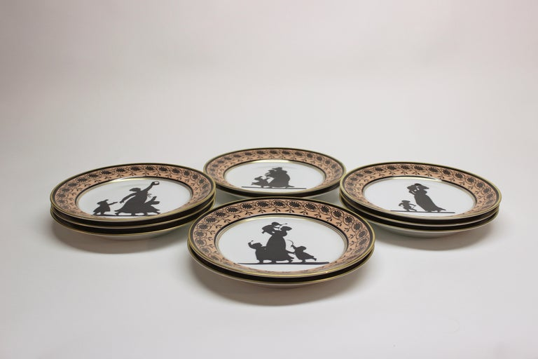 Set of Ten Mottahedeh Silhouette Dessert Plates In Excellent Condition For Sale In East Hampton, NY