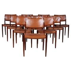 Set of Ten N. O. Møller Dining Chairs