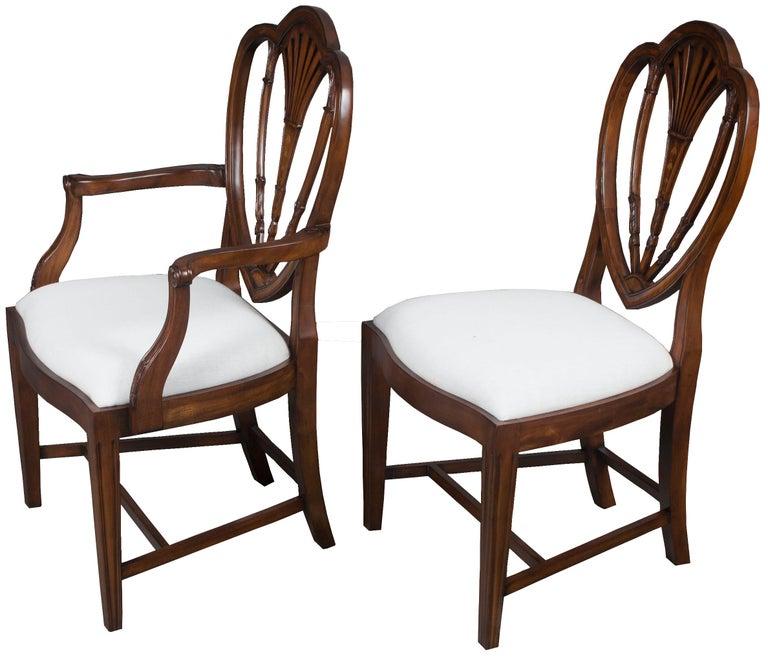 White Dining Room Set Sale: Set Of Ten New Hepplewhite Style Mahogany Shield Back