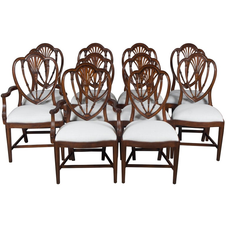 Shield Back Dining Room Chairs: Set Of Ten New Hepplewhite Style Mahogany Shield Back