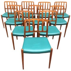 Set of Ten Niels Møller Teak Chairs Model 83