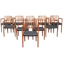 Set of Ten Niels Otto Møller for J. L. Møller Model 83 Dining Chairs