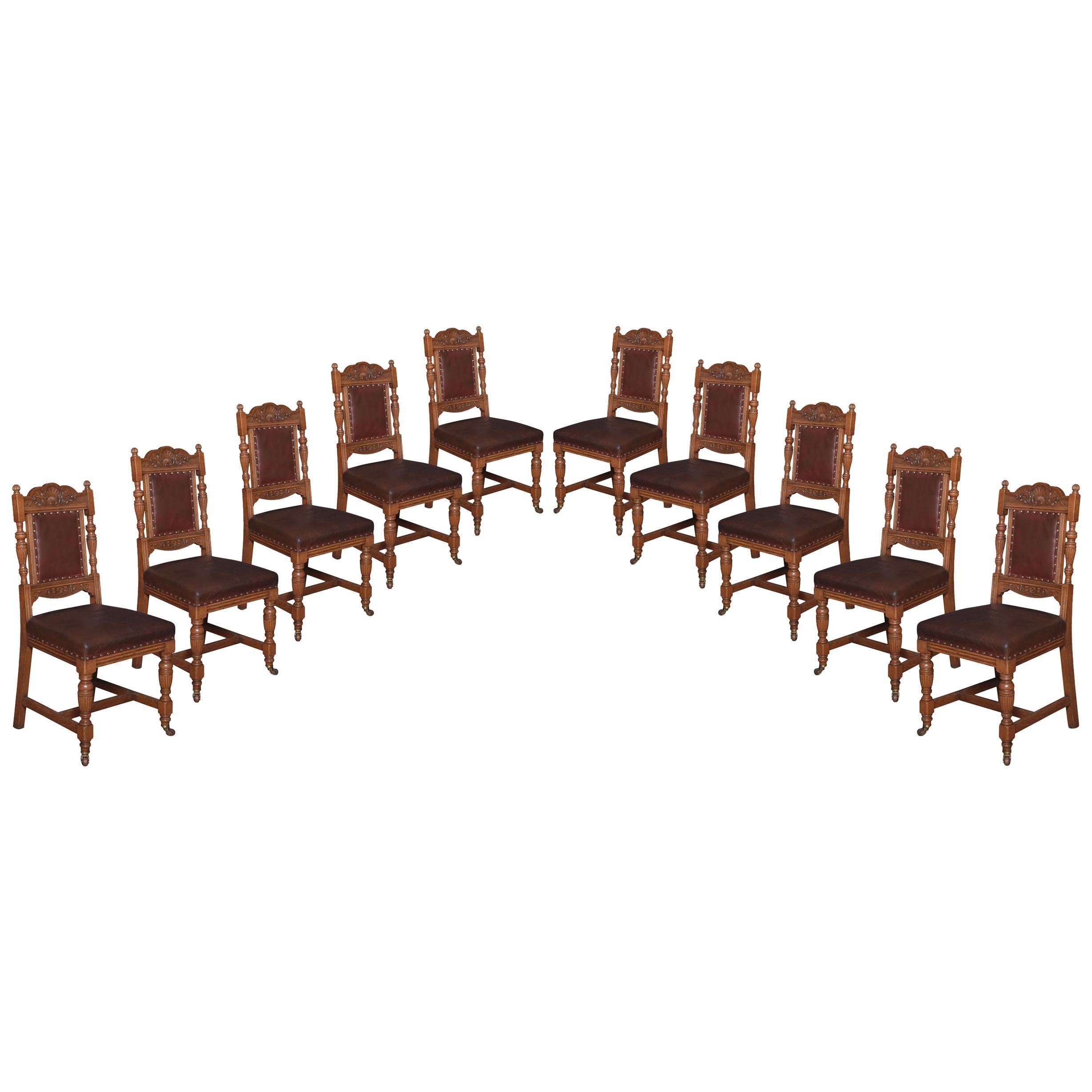 Set of Ten Oak Dining Chairs