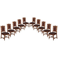 Set of Ten Oak Dining Chairs