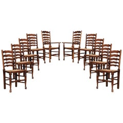 Set of Ten Oak Ladder Back Dining Chairs