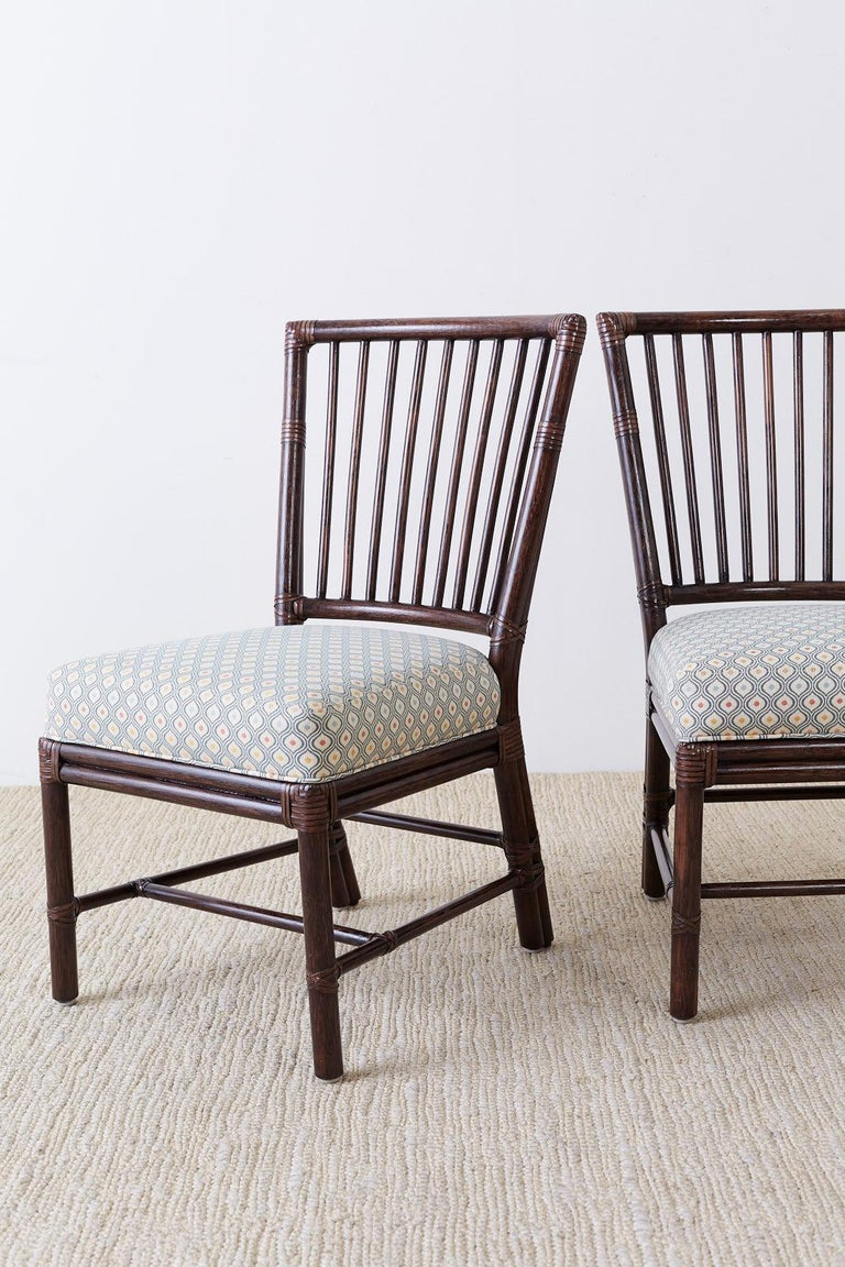 Set of Ten Orlando Diaz-Azcuy for McGuire Rattan Dining Chairs For Sale 5
