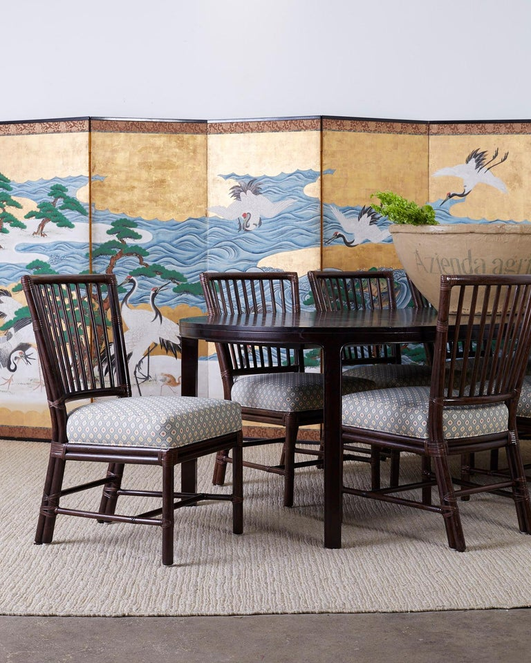 Set of Ten Orlando Diaz-Azcuy for McGuire Rattan Dining Chairs For Sale 6