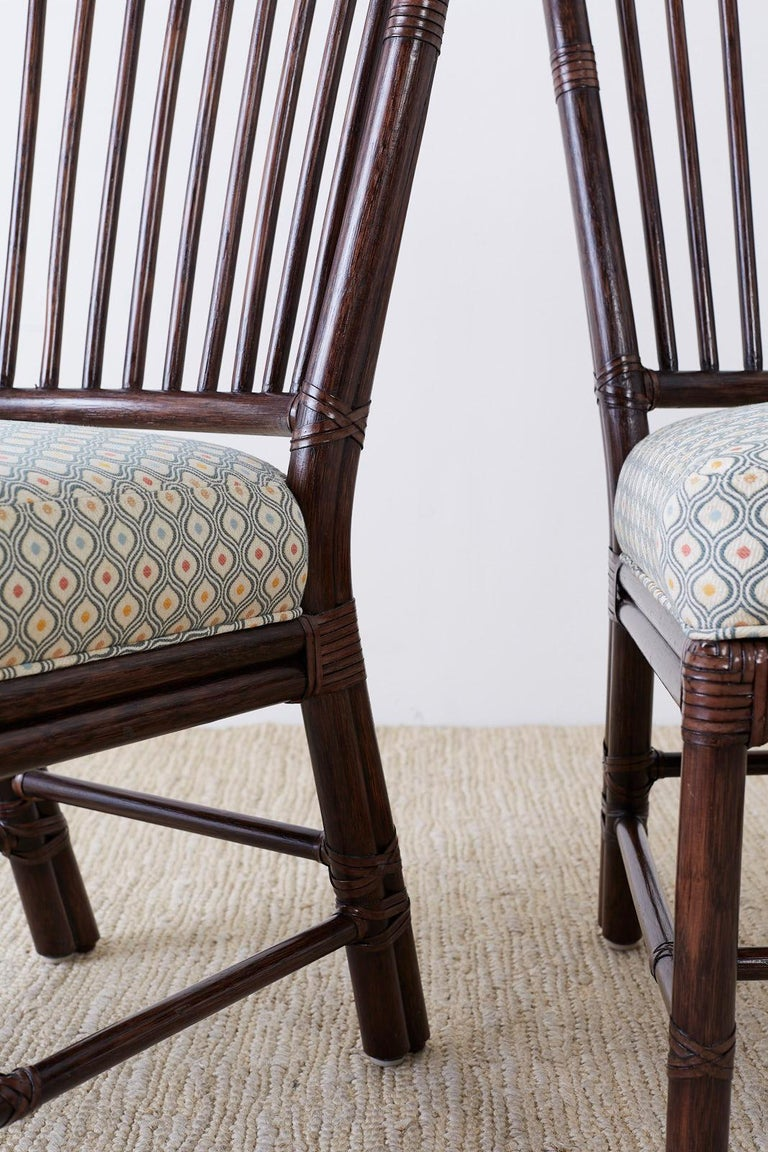 Set of Ten Orlando Diaz-Azcuy for McGuire Rattan Dining Chairs For Sale 7