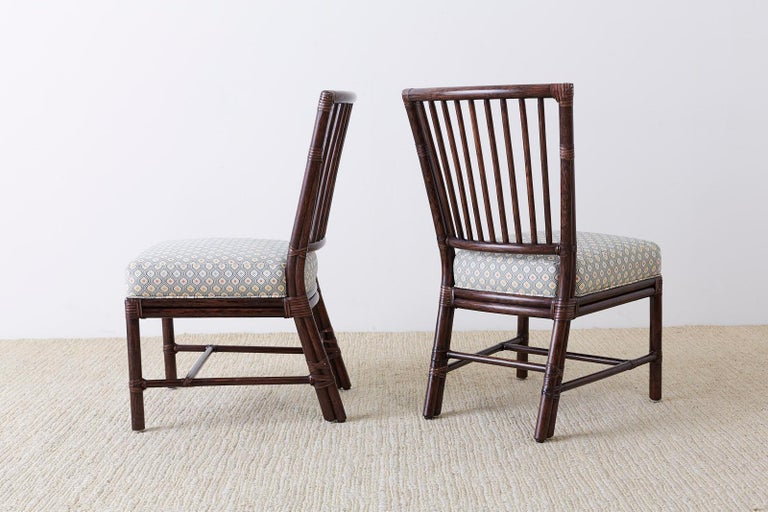 Set of Ten Orlando Diaz-Azcuy for McGuire Rattan Dining Chairs For Sale 8