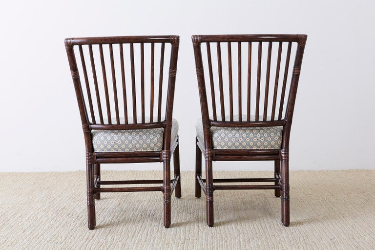 Set of Ten Orlando Diaz-Azcuy for McGuire Rattan Dining Chairs For Sale 12