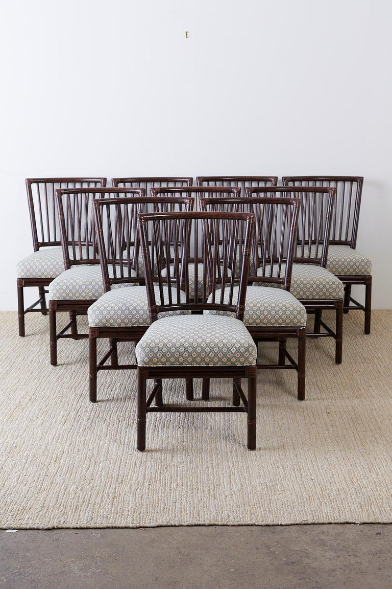 Organic Modern Set of Ten Orlando Diaz-Azcuy for McGuire Rattan Dining Chairs For Sale
