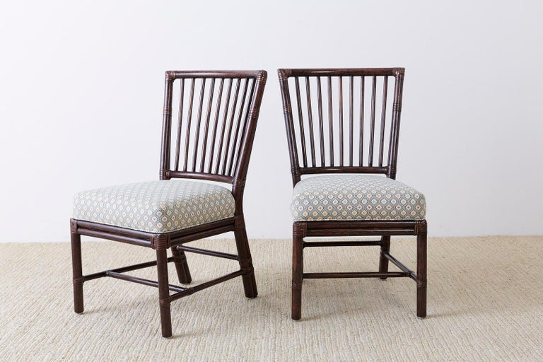 American Set of Ten Orlando Diaz-Azcuy for McGuire Rattan Dining Chairs For Sale