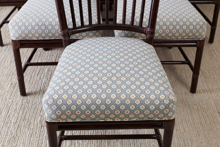 Set of Ten Orlando Diaz-Azcuy for McGuire Rattan Dining Chairs In Good Condition For Sale In Oakland, CA
