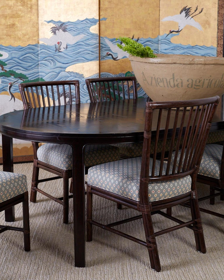 Contemporary Set of Ten Orlando Diaz-Azcuy for McGuire Rattan Dining Chairs For Sale