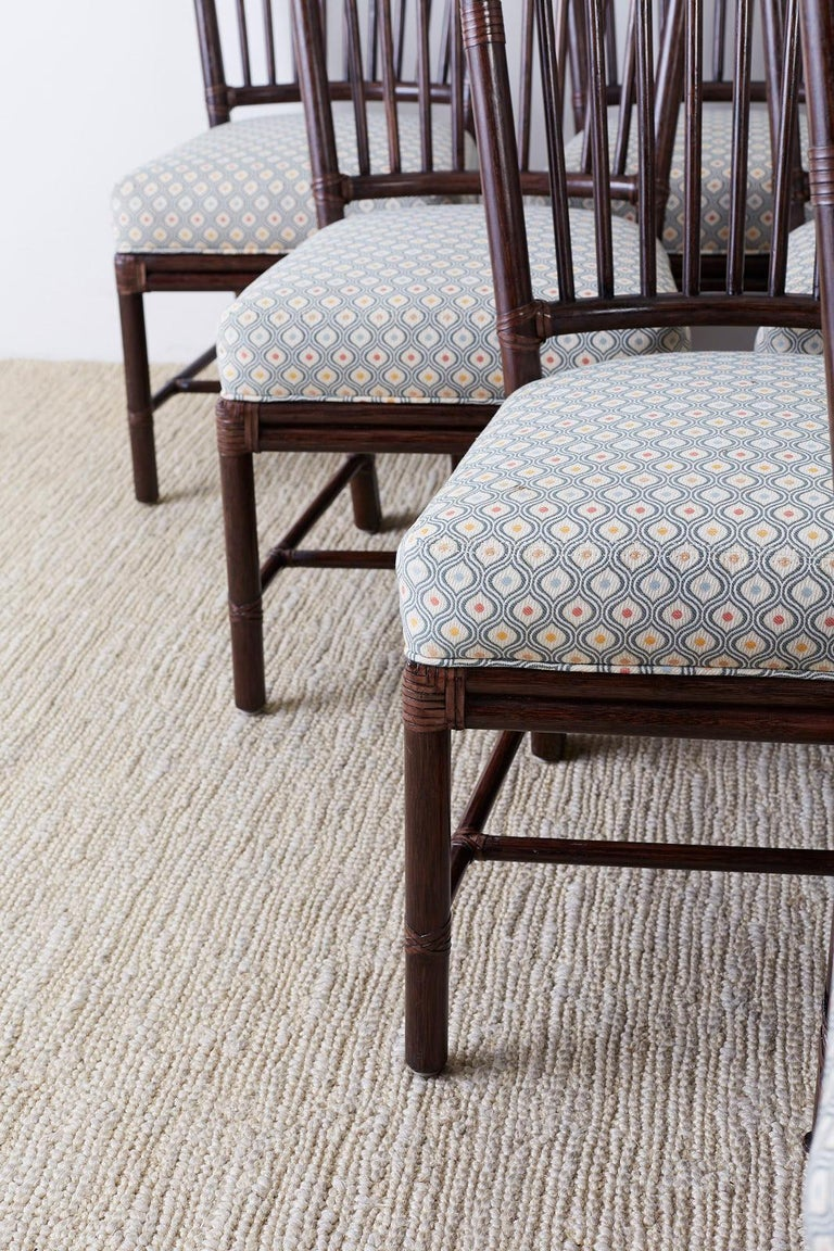 Set of Ten Orlando Diaz-Azcuy for McGuire Rattan Dining Chairs For Sale 1