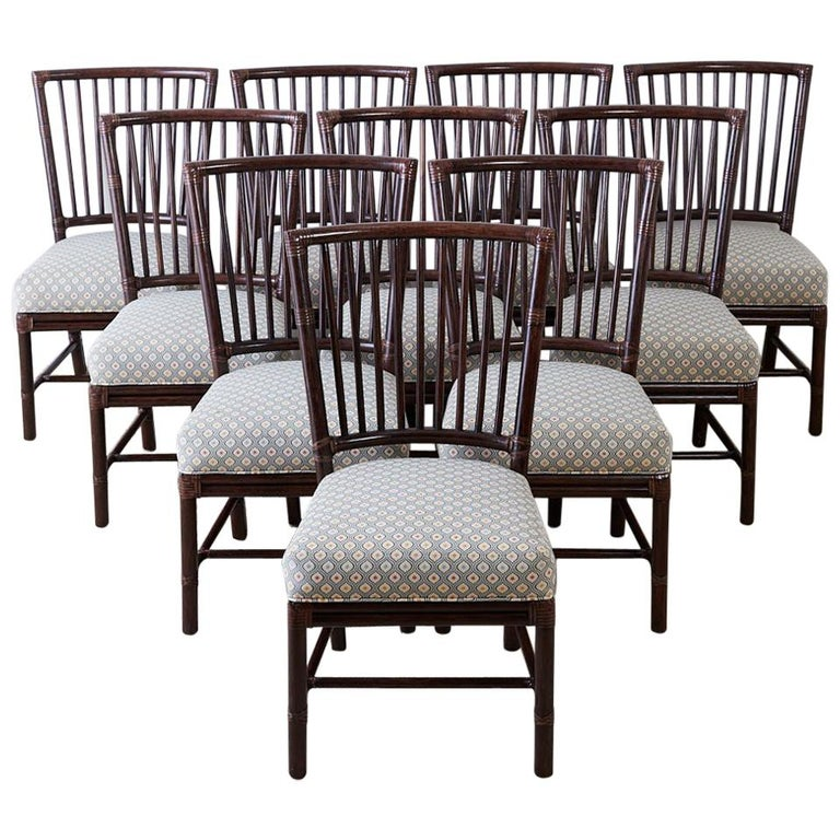 Set Of Ten Orlando Diaz-Azcuy For McGuire Rattan Dining