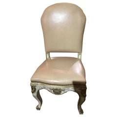 Set of Ten Painted Italian Dining Chairs in Cream Leather