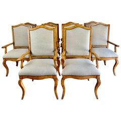 Set of Ten Pine Dining Armchairs with Belgium Linen Upholstery