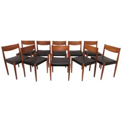 Set of Ten Poul Volther for Frem Rojle Danish Teak Dining Chairs, circa 1960s