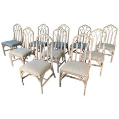 Set of Ten Rattan Dining Chairs by Henry Link