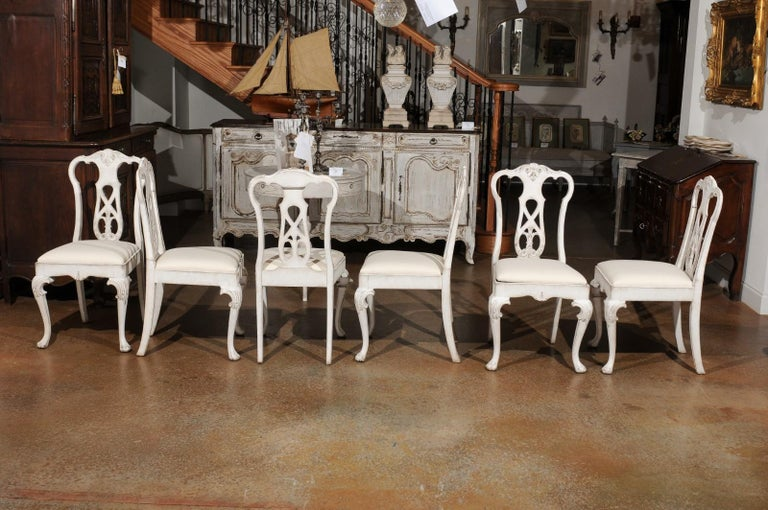 Set of Ten Scandinavian Rococo Style 20th Century Painted Dining Room Chairs For Sale 6