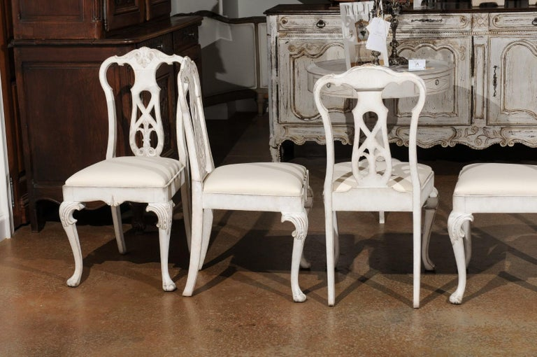 Set of Ten Scandinavian Rococo Style 20th Century Painted Dining Room Chairs For Sale 7