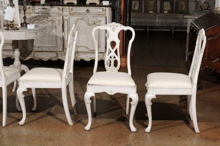 Set of Ten Scandinavian Rococo Style 20th Century Painted Dining Room Chairs For Sale 8
