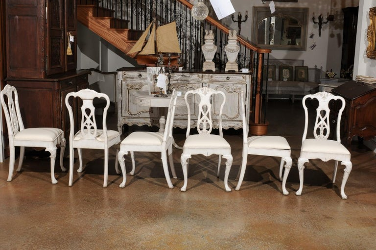 Set of Ten Scandinavian Rococo Style 20th Century Painted Dining Room Chairs For Sale 9