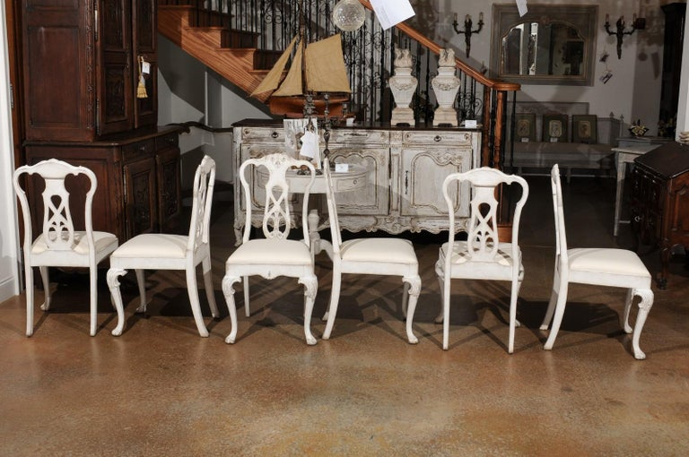 Set of Ten Scandinavian Rococo Style 20th Century Painted Dining Room Chairs For Sale 10
