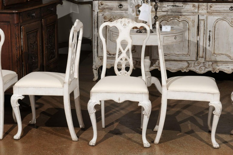 Set of Ten Scandinavian Rococo Style 20th Century Painted Dining Room Chairs For Sale 11