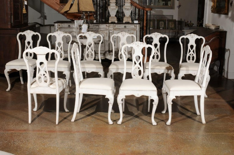 Set of Ten Scandinavian Rococo Style 20th Century Painted Dining Room Chairs In Good Condition For Sale In Atlanta, GA