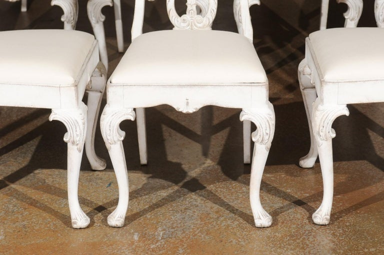 Wood Set of Ten Scandinavian Rococo Style 20th Century Painted Dining Room Chairs For Sale