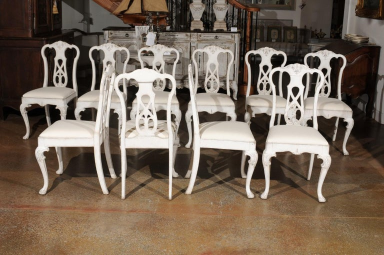 Set of Ten Scandinavian Rococo Style 20th Century Painted Dining Room Chairs For Sale 1