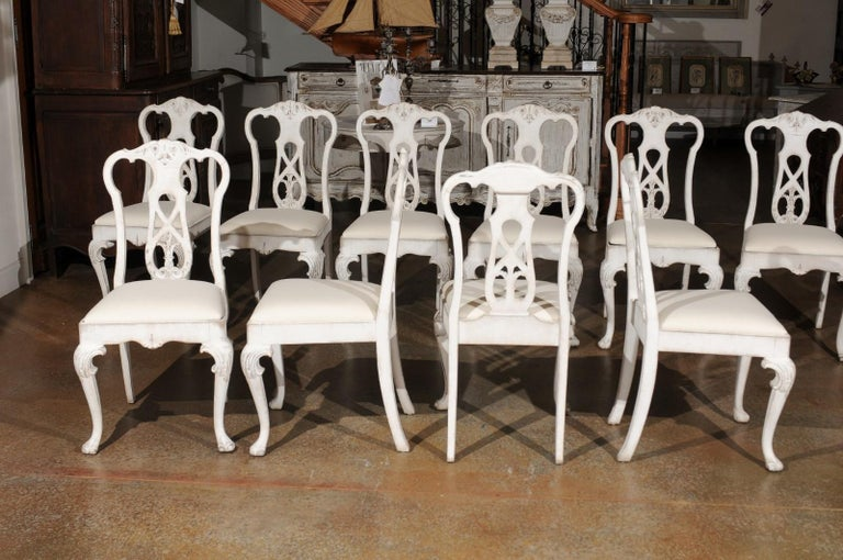 Set of Ten Scandinavian Rococo Style 20th Century Painted Dining Room Chairs For Sale 2