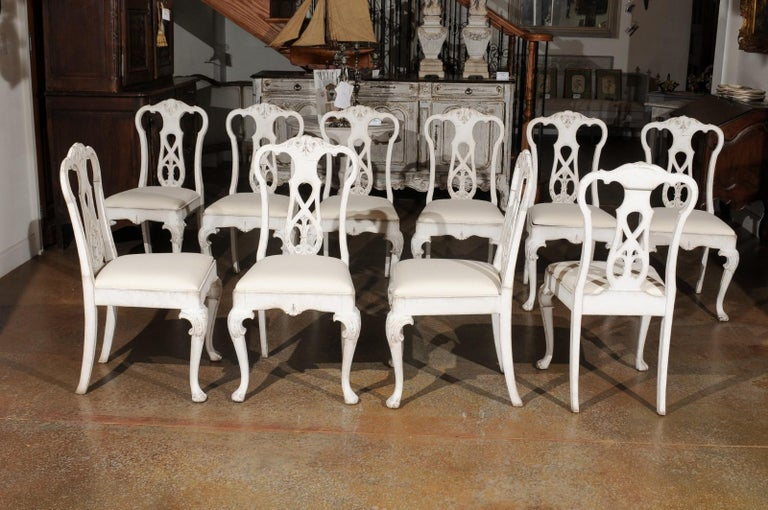 Set of Ten Scandinavian Rococo Style 20th Century Painted Dining Room Chairs For Sale 3