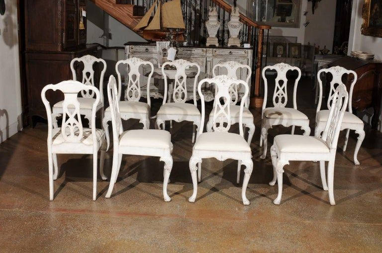 Set of Ten Scandinavian Rococo Style 20th Century Painted Dining Room Chairs For Sale 4