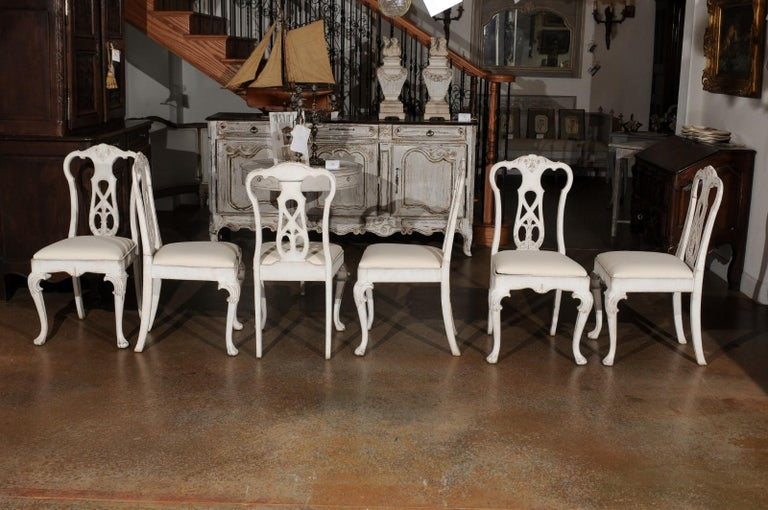 Set of Ten Scandinavian Rococo Style 20th Century Painted Dining Room Chairs For Sale 5