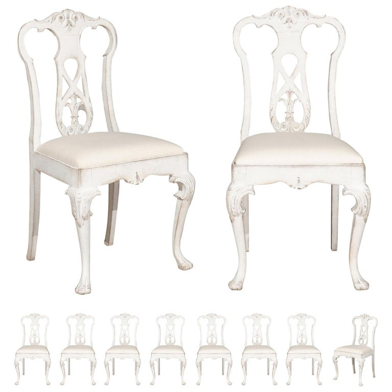 Set of Ten Scandinavian Rococo Style 20th Century Painted Dining Room Chairs For Sale