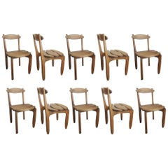 Set of Ten Solid Oak Dining Room Chairs by Guillerme et Chambron