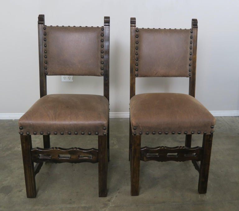 Set of Ten Spanish Style Leather Dining Chairs at 1stdibs
