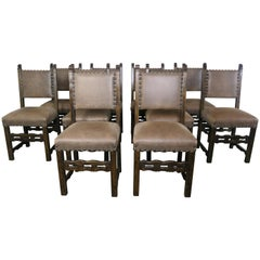 Set of Ten Spanish Style Leather Dining Chairs