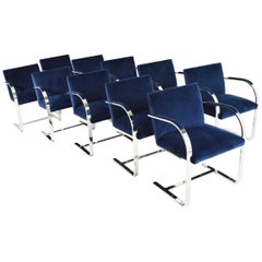 Set of Ten Stainless Steel Flatbar Brno Chairs by Knoll