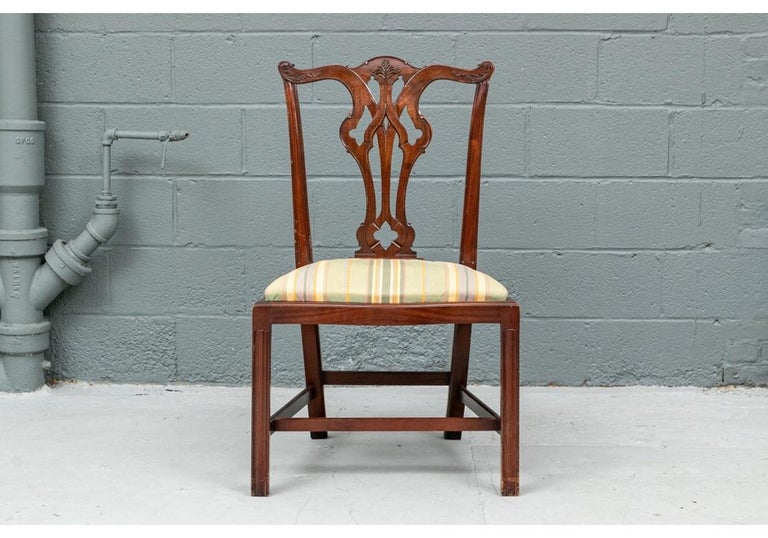 Set of Ten Stickley Chippendale Style Carved Mahogany Dining Chairs For Sale 7