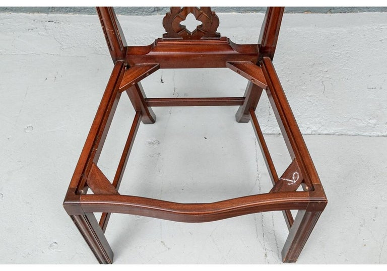 Set of Ten Stickley Chippendale Style Carved Mahogany Dining Chairs For Sale 8