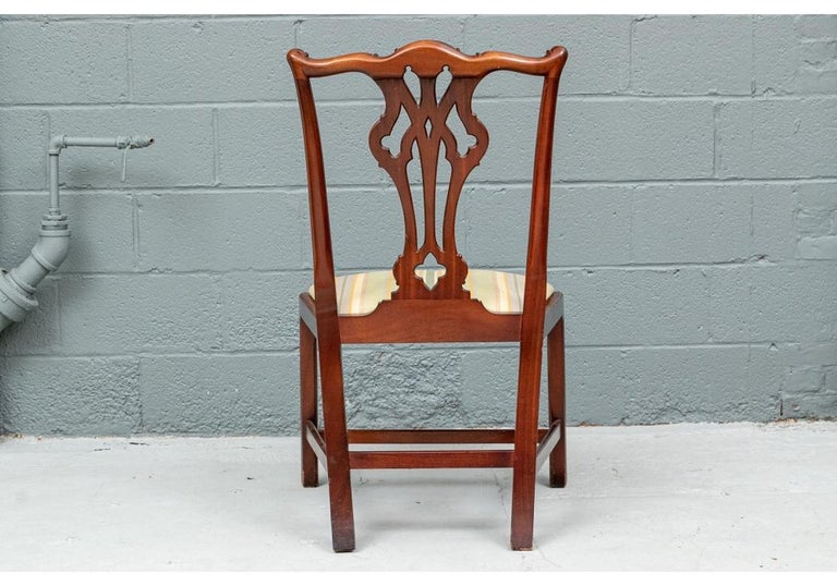 Set of Ten Stickley Chippendale Style Carved Mahogany Dining Chairs For Sale 3