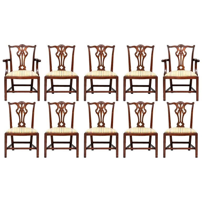 Set of Ten Stickley Chippendale Style Carved Mahogany Dining Chairs For Sale