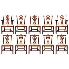 Set of Ten Stickley Chippendale Style Carved Mahogany Dining Chairs