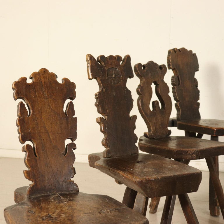 Italian Set of Ten Stools Walnut Manufactured in Italy 17th Century For Sale
