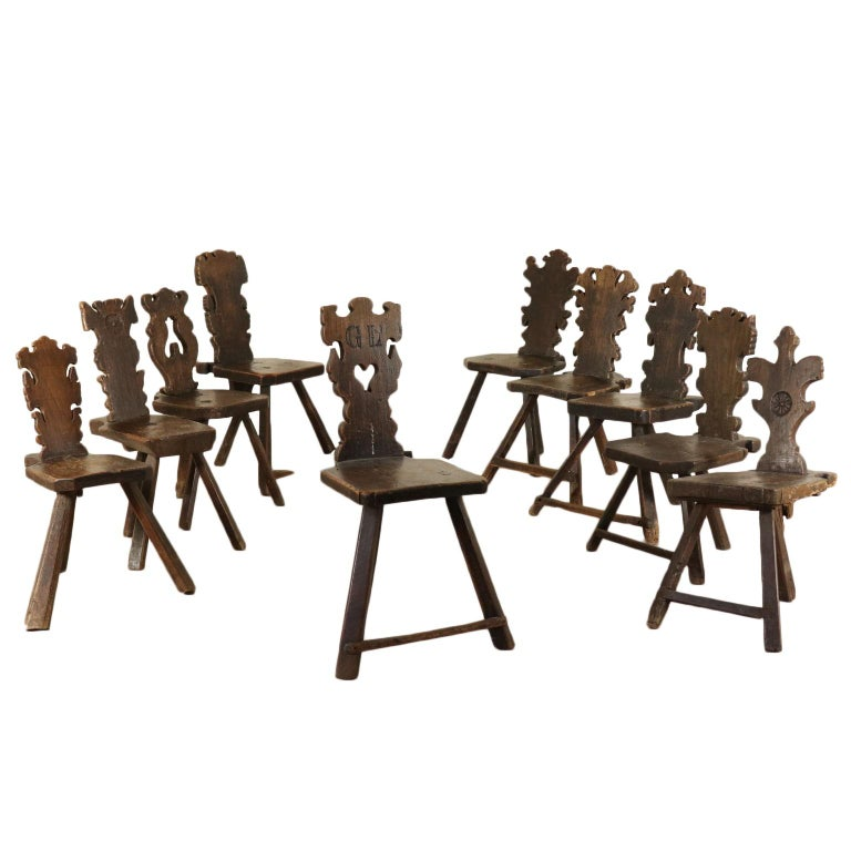 Set of Ten Stools Walnut Manufactured in Italy 17th Century For Sale